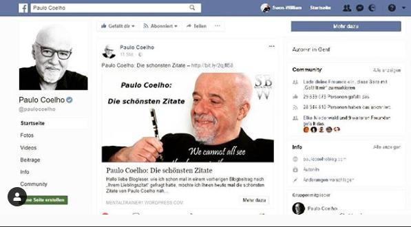 Paulo Coelho Wertschätzung für Blogbeitrag